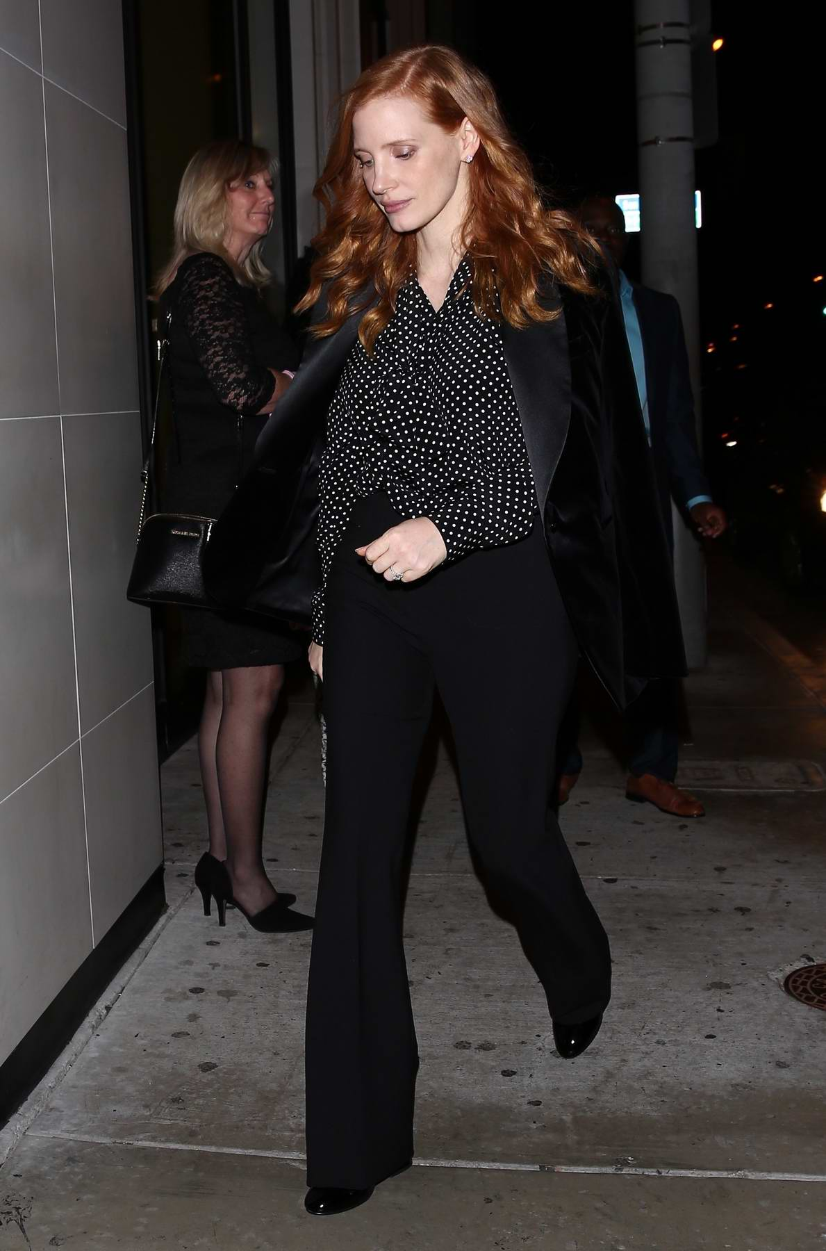 Jessica Chastain and husband Gian Luca Passi leaves after dinner at Catch in West Hollywood, Los Angeles