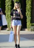 Jessica Hart dons a pair of denim shorts while out for shopping in Los Angeles