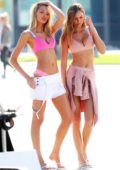 Josephine Skriver and Romee Strijd on set of a photoshoot for Victoria Sport at Venice beach in Los Angeles