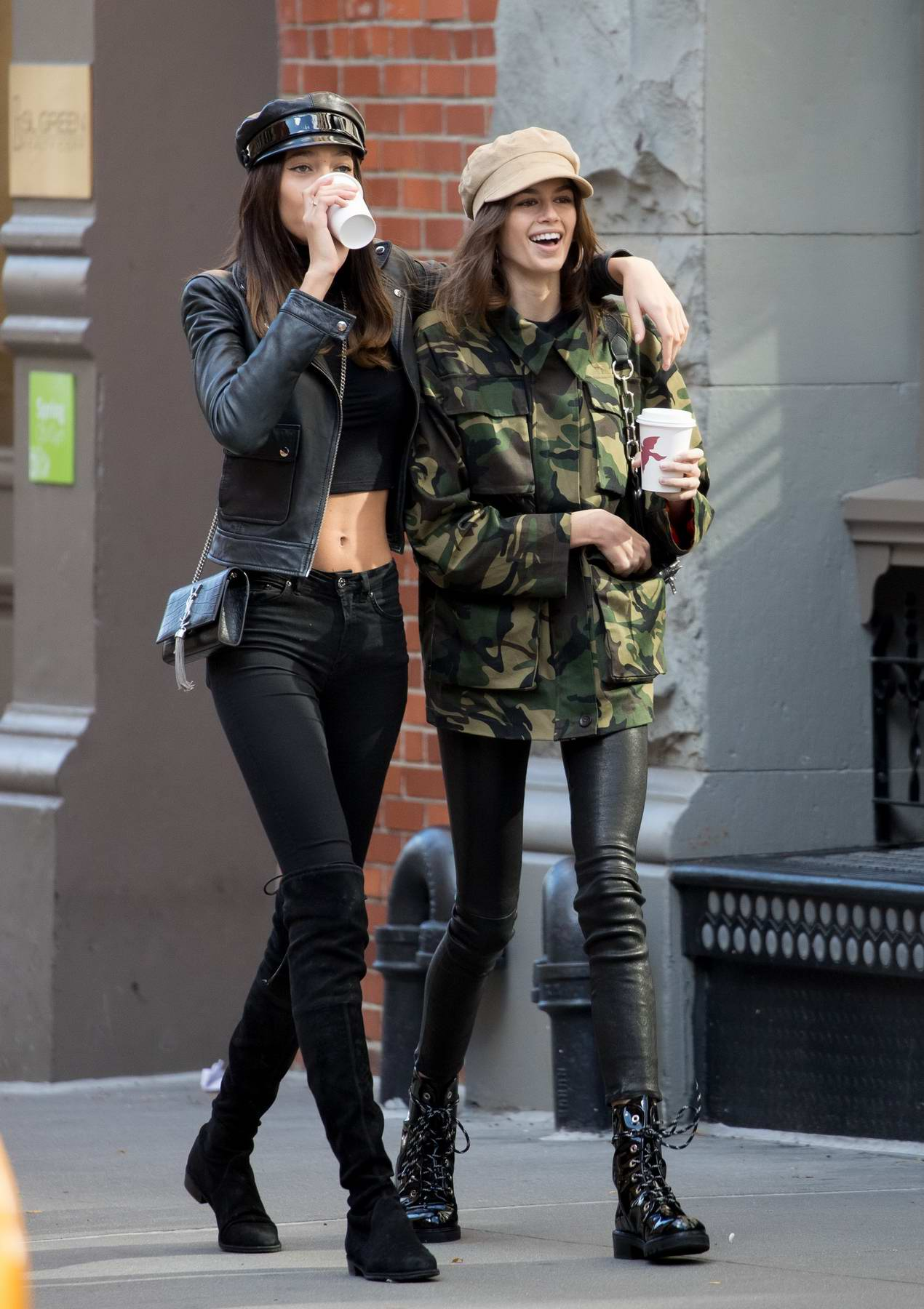 Kaia Gerber gets a coffee to go with a girlfriend in New York City