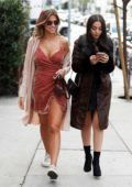 Kara Del Toro wears a pink velvet dress as she leaves Zinque Cafe after lunch with a friend in Los Angeles
