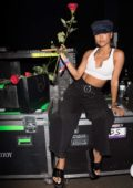 Karrueche Tran is seen on day two of Complexcon in Long Beach, Los Angeles