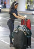 Karrueche Tran seen carting her luggage at LAX Airport in Los Angeles