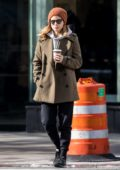 Kate Mara and Jamie Bell grab coffee then return back to their hotel in New York City
