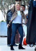 Kate Winslet is seen smiling as she arrives at her hotel in Santa Monica, California