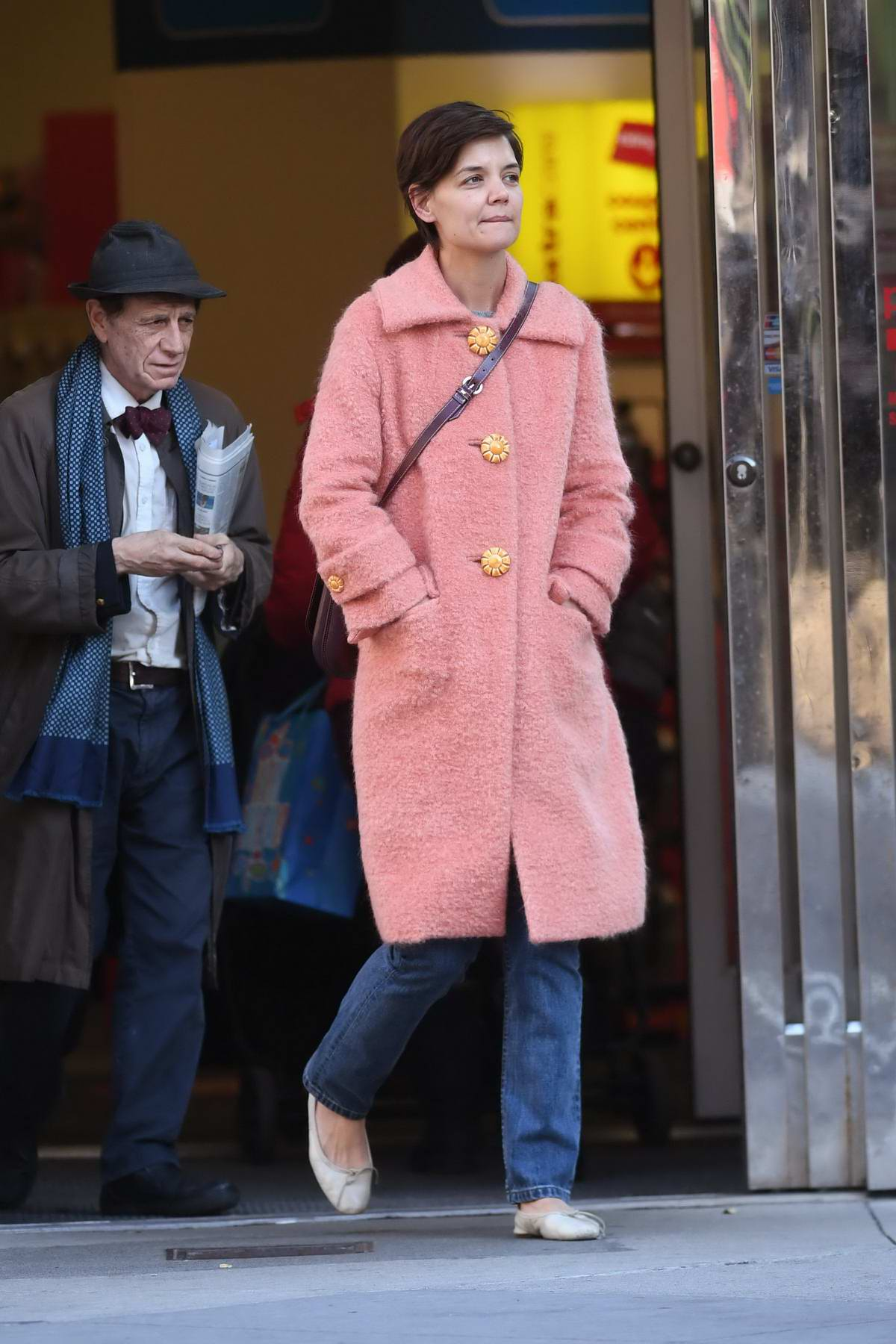 Katie Holmes spotted in a peach coat while out on shopping in New York City