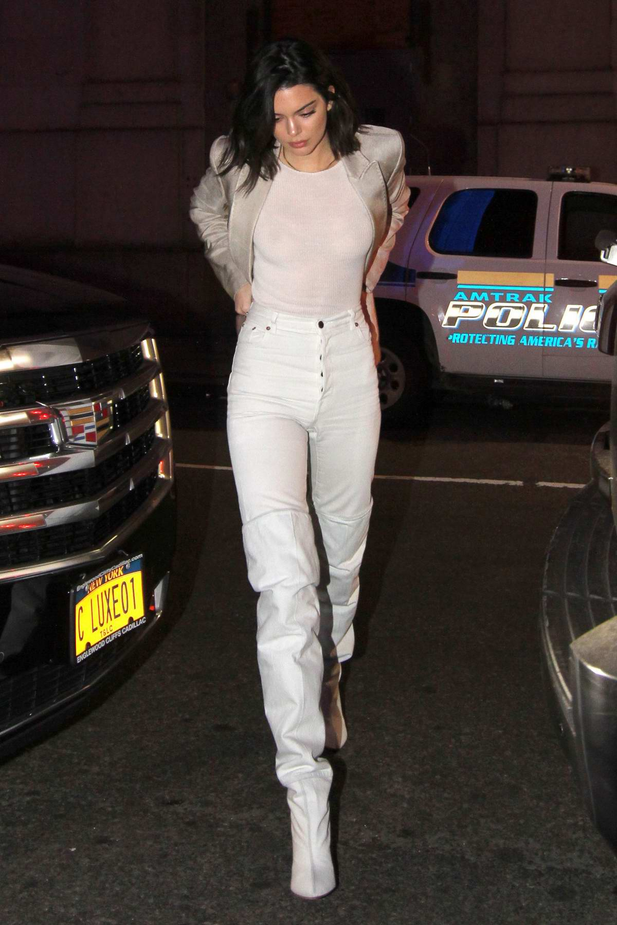 Kendall Jenner and Hailey Baldwin heading out of The Bowery Hotel for a night out in New York City
