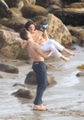 Kendall Jenner on set of a photoshoot at the beach in Malibu, California