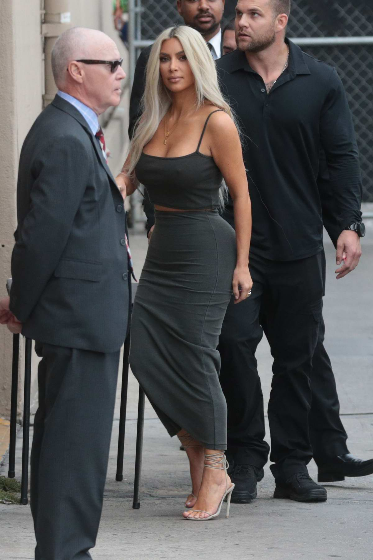 Kim Kardashian arriving at Jimmy Kimmel Live in Hollywood, Los Angeles