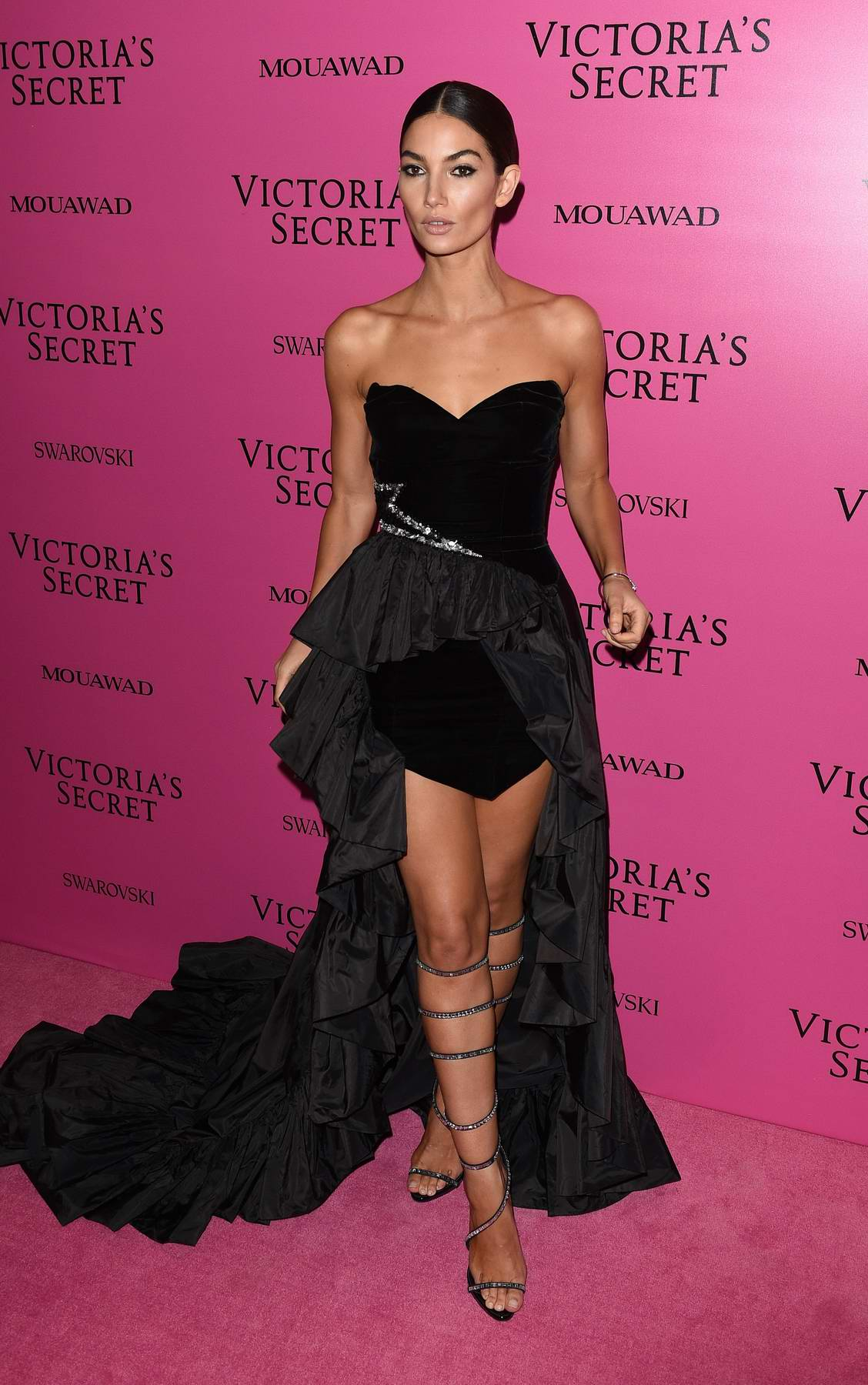 Lily Aldridge at the Victoria's Secret fashion show, pink carpet and after party at Expo Center in Shanghai, China