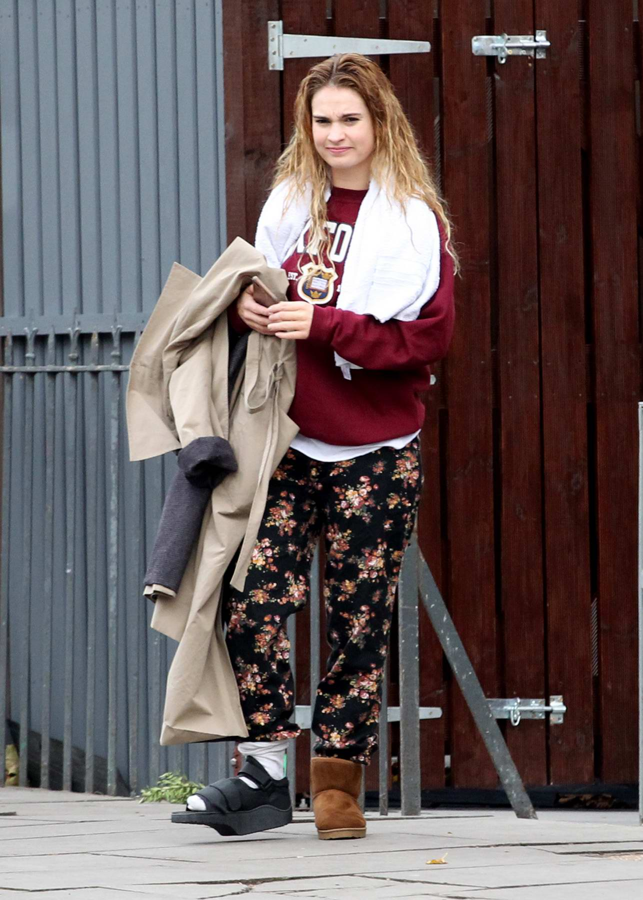 Lily James Seen Leaving Her North London Home Wearing A