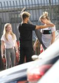Lindsay Arnold hanging out with her sister and Jordan Fisher before heading to the dance practice in Los Angeles