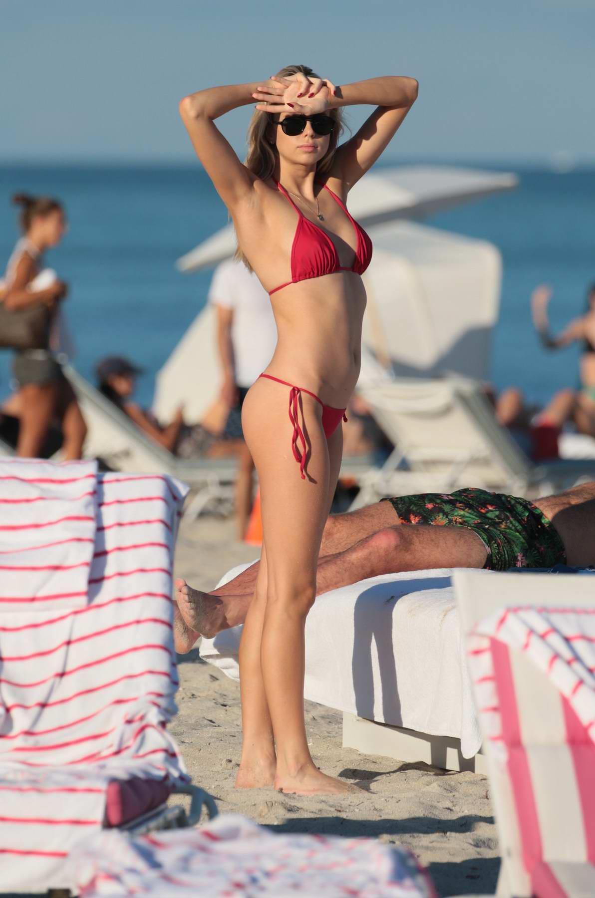 Louisa Warwick hits the beach in a red bikini in Miami, Florida