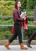 Lucy Hale and 'Life Sentence' co-star Elliot Knight walk to work in Burnaby, British Columbia, Canada