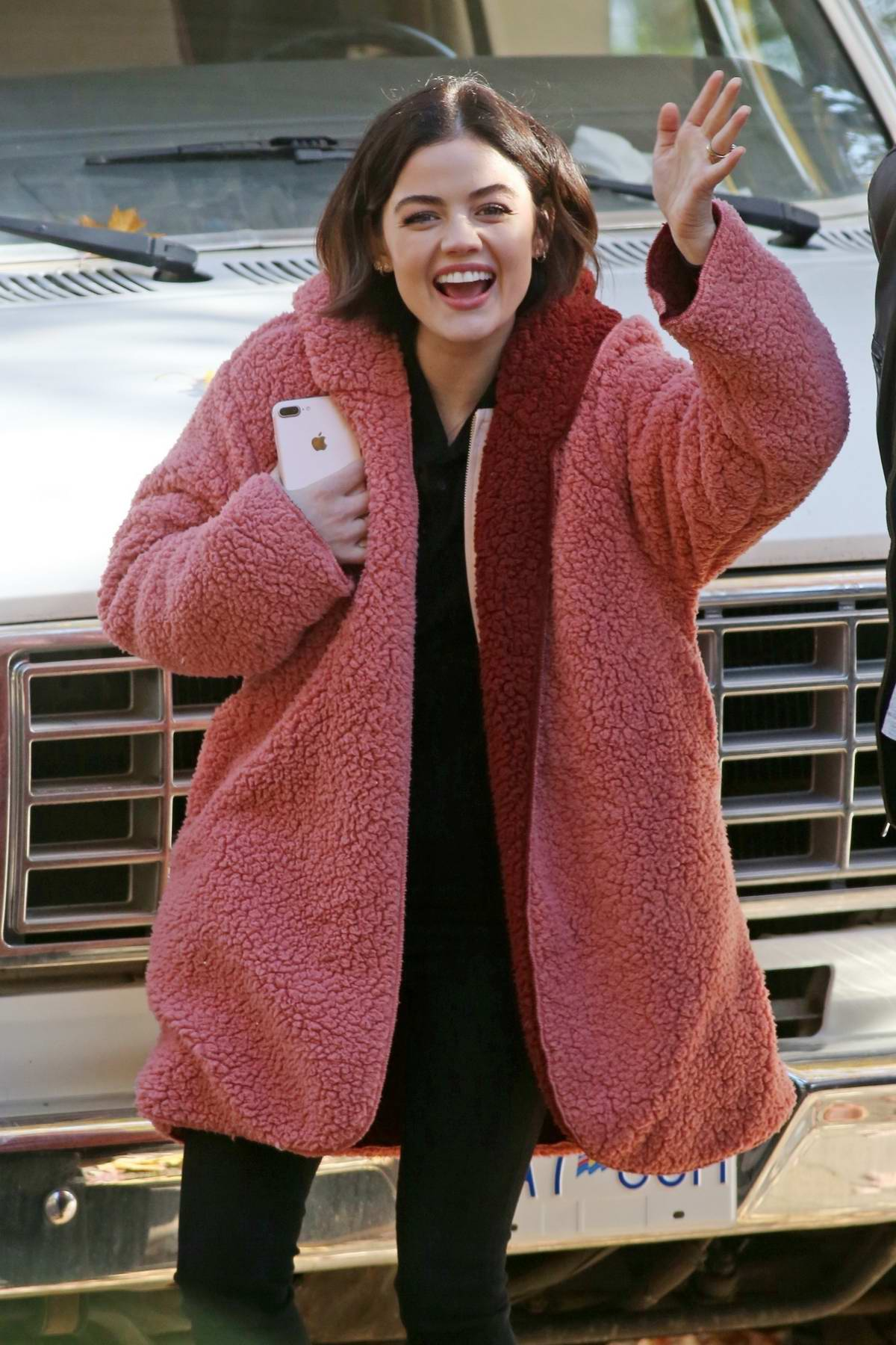 Lucy Hale filming a scene on set of 'Life Sentence' in Vancouver, Canada