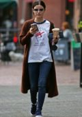Lucy Hale grabs an early Starbucks iced coffee before work in Vancouver, British Columbia, Canada