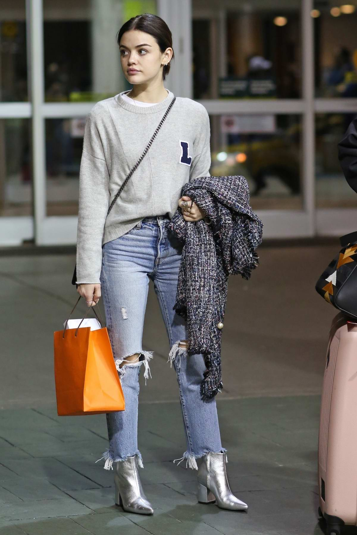 Lucy Hale spotted at Vancouver airport as she arrives back in Vancouver, Canada