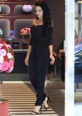Mara Teigen stops to shop for flowers in Beverly Hills, Los Angeles