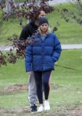 Margot Robbie and husband Tom Ackerley take their dog for a walk at Pan Pacific park in West Hollywood, Los Angeles
