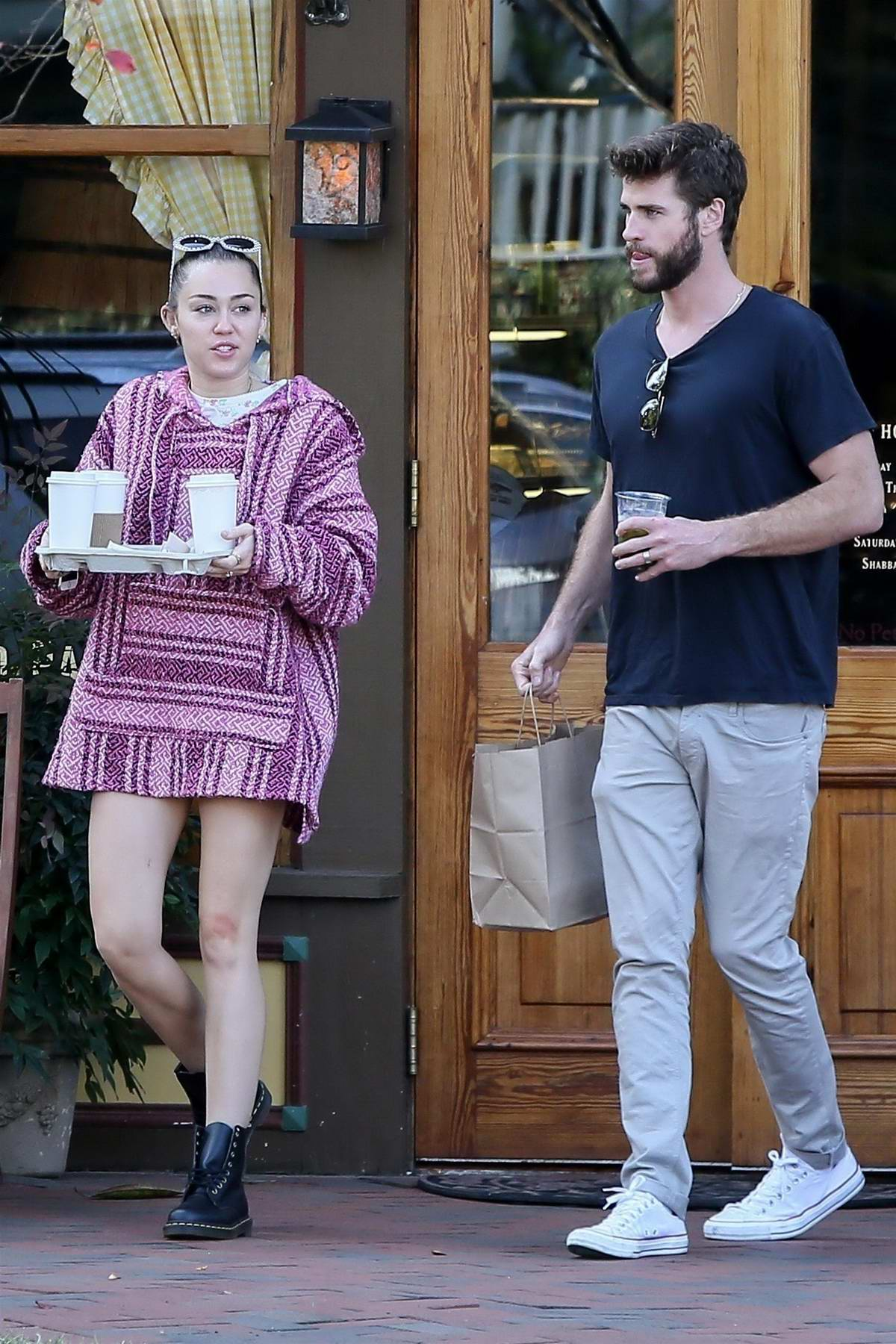 Miley Cyrus and Liam Hemsworth picking up coffee to go in Savannah, Georgia