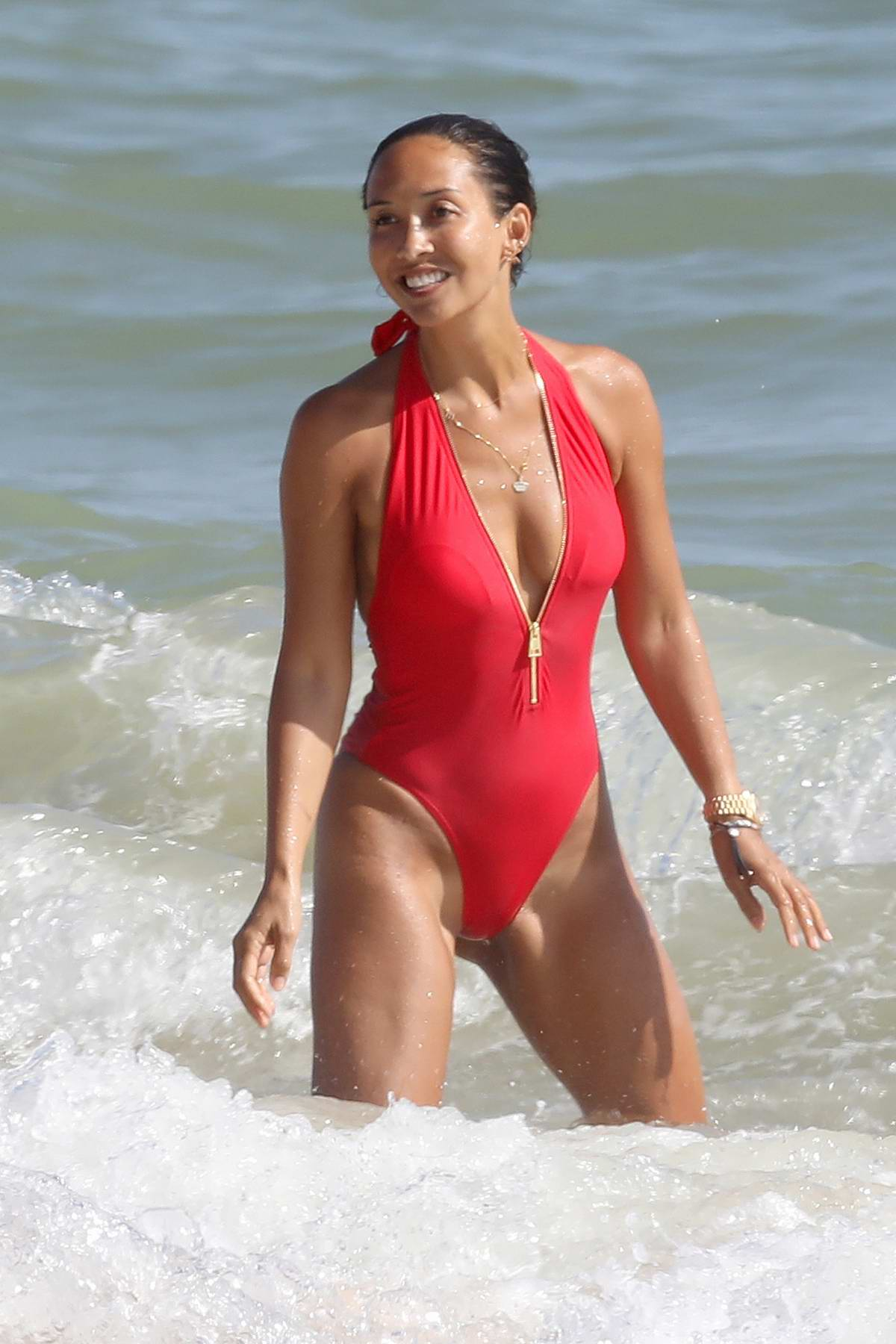 Myleene Klass was sporting red swimsuit as she enjoyed some downtime during holiday in Portugal