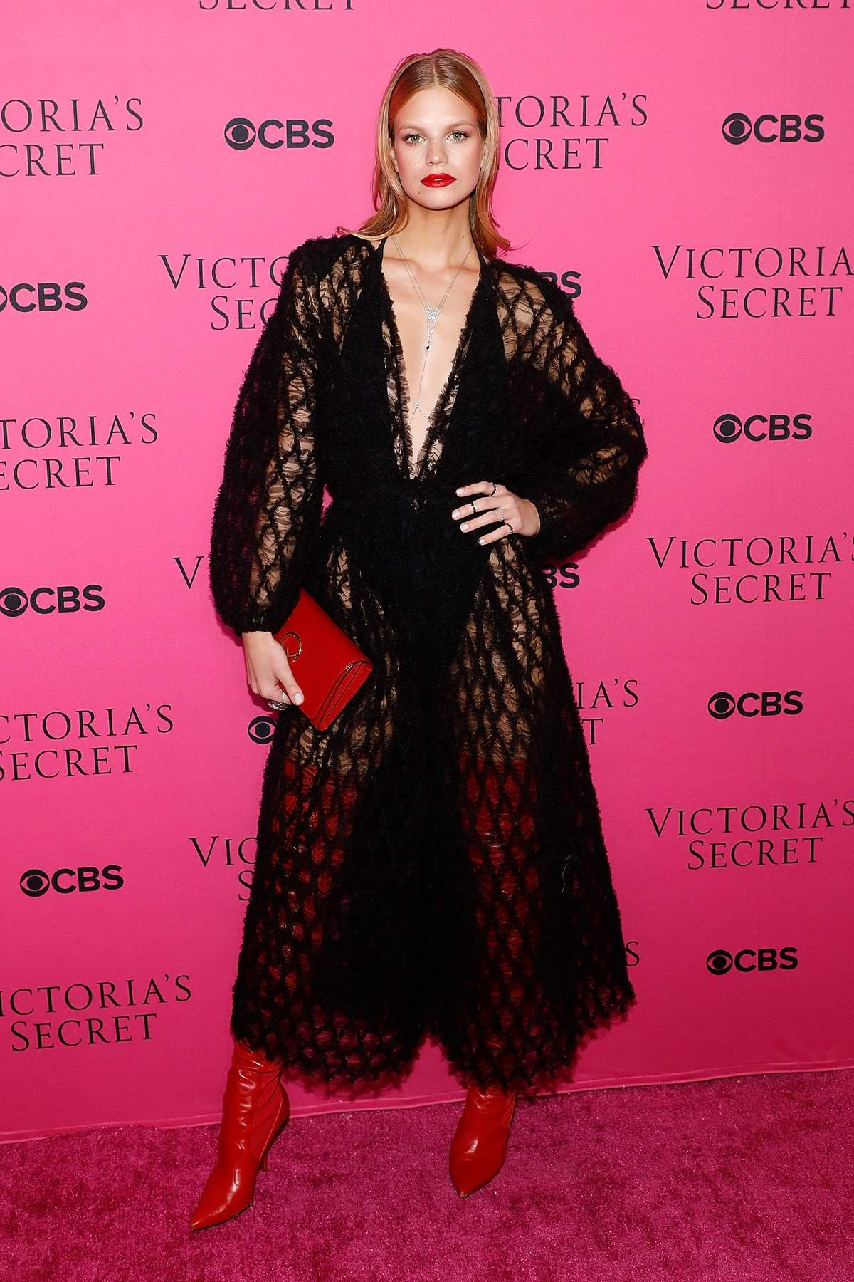 Nadine Leopold at the Victoria's Secret Fashion Show viewing party in New York