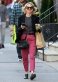 Naomi Watts enjoy a green juice while heading for a pedicure in Tribeca, New York City