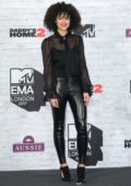 Nathalie Emmanuel at the 24th MTV Europe Music Awards held at SSE Arena Wembley in London