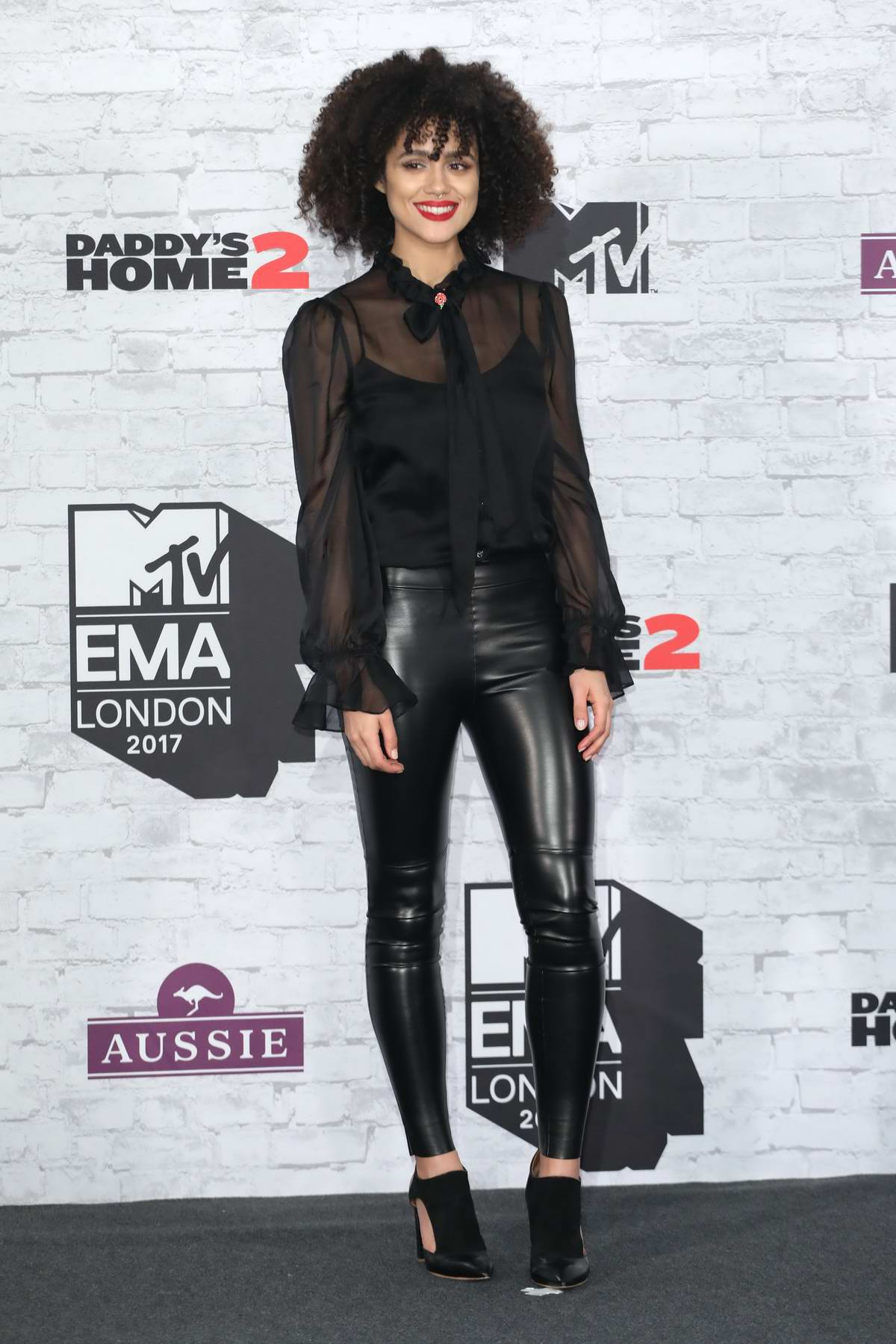 Nathalie Emmanuel at the 24th MTV Europe Music Awards held at SSE Arena Wembley in London