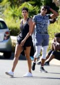 Nicole Murphy turns heads while working out in Santa Monica, California