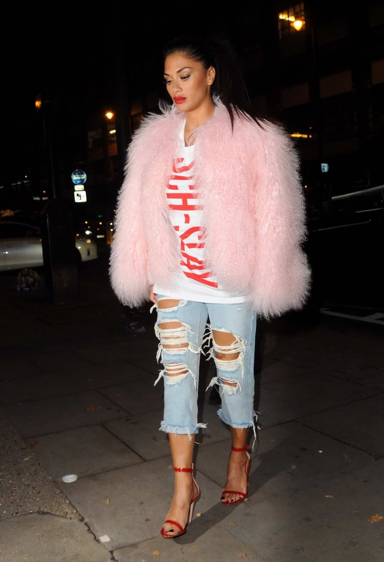 Nicole Scherzinger arriving at the Bull in a China Shop in Shoreditch East London