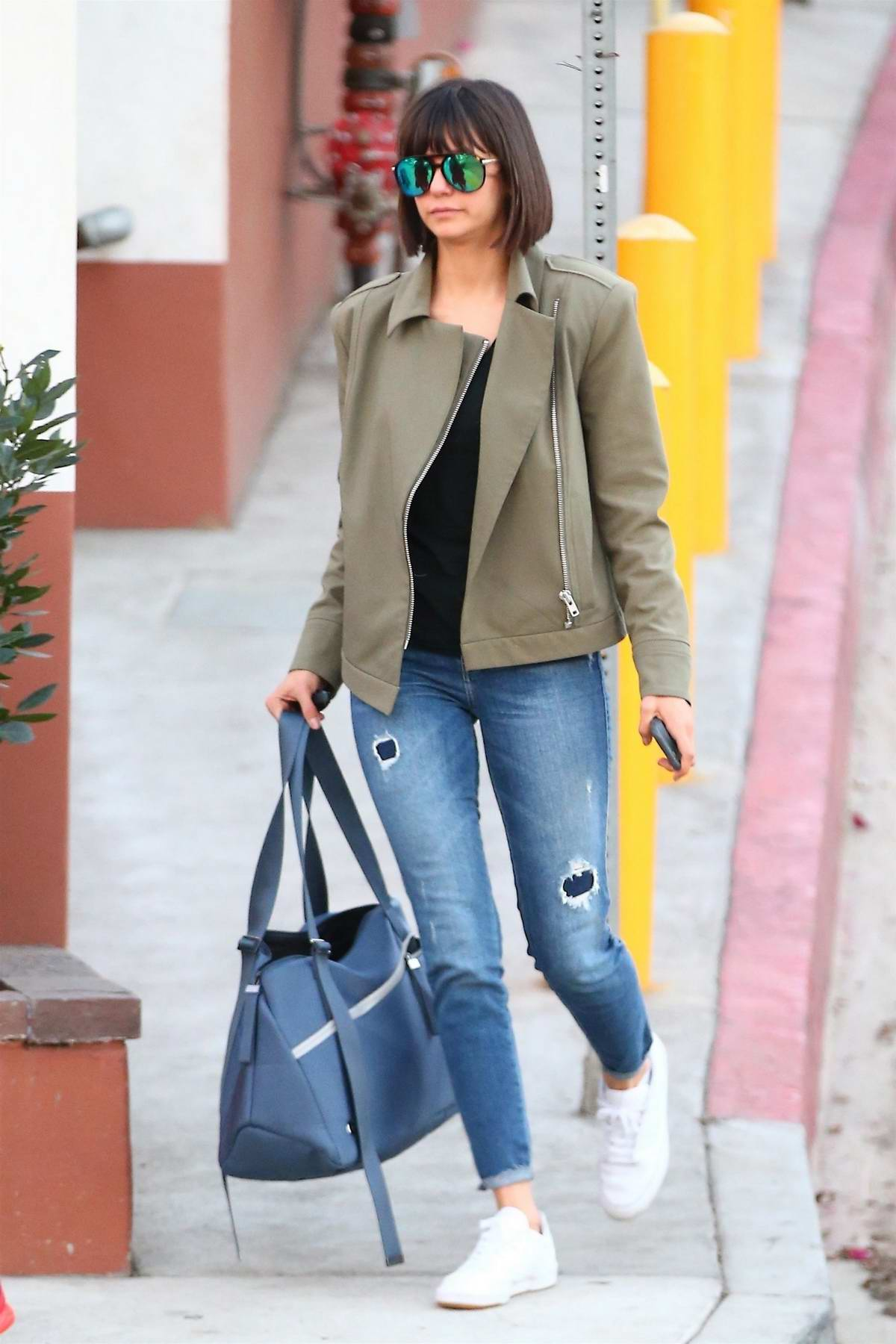 Nina Dobrev arriving at a dance studio with a friend in Los Angeles