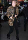 Olivia Holt arriving at MTV's TRL to promote Marvel's Cloak & Dagger in New York City