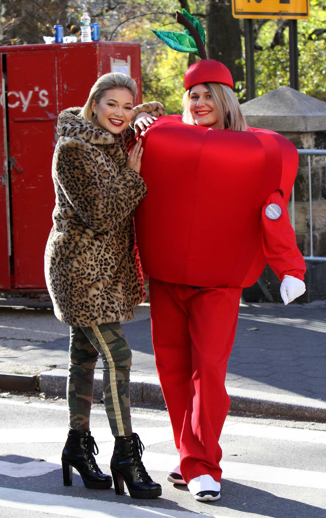 Olivia Holt at Thanksgiving Day parade at Central Park west in New York