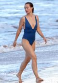 Olivia Wilde in blue swimsuit enjoying her vacation at the beach in Hawaii