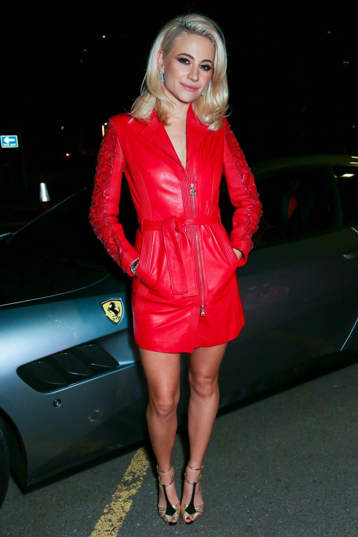 Pixie Lott attending the UK launch for the new Ferrari Portofino at Kensington Olympia in London