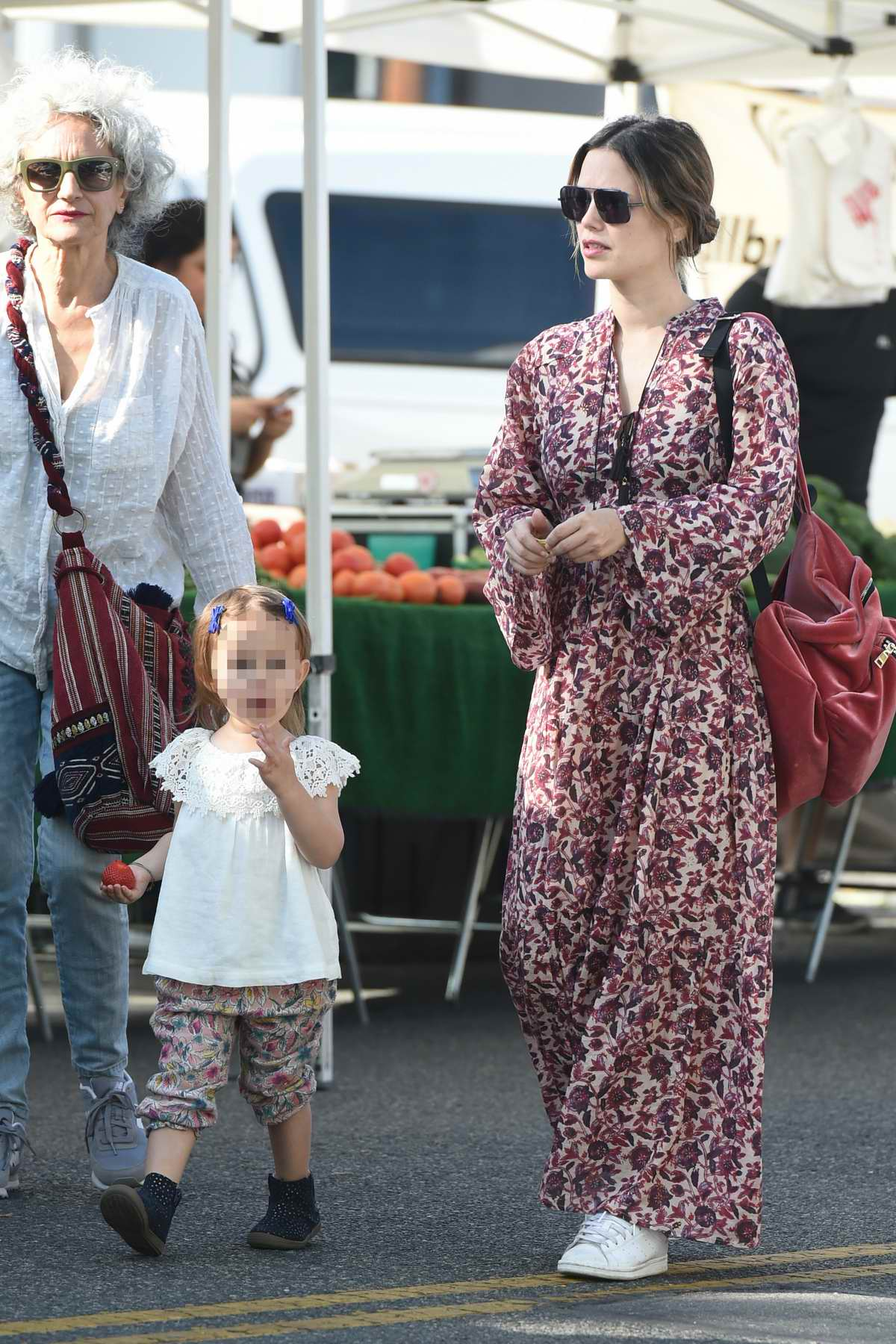 Rachel Bilson takes daughter out to farmers market in Studio City, Los Angeles