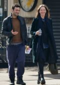 Rebecca Hall and Morgan Spector share a few laughs when out enjoying the chilly fall weather in downtown Manhattan, New York
