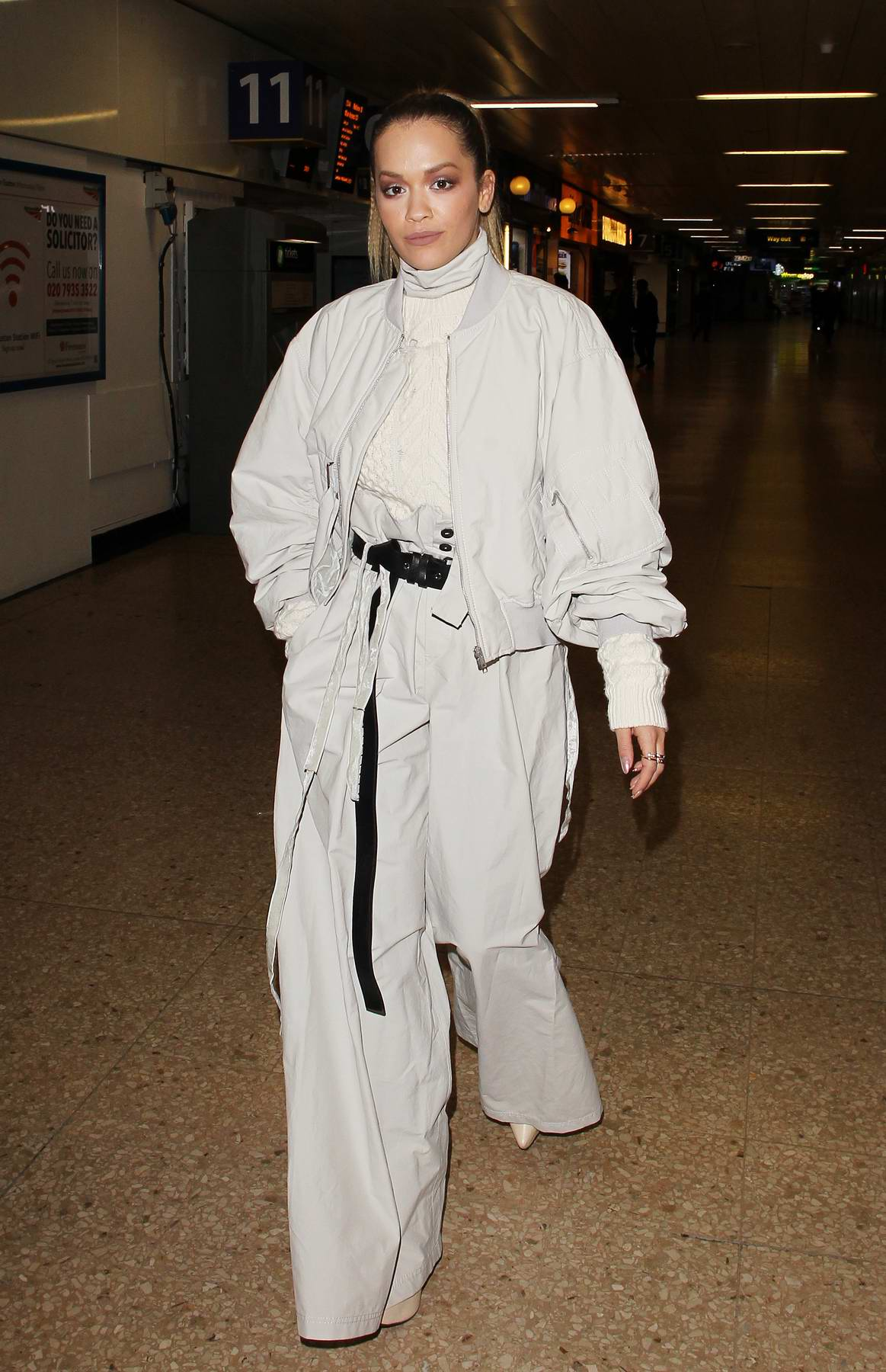 Rita Ora seen arriving back at London Euston station after performing in Manchester