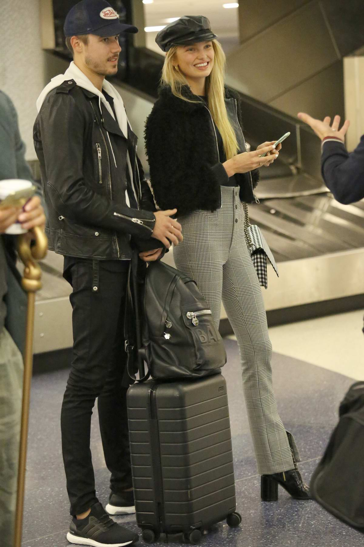 Romee Strijd and her boyfriend arrives at LAX Airport, Los Angeles