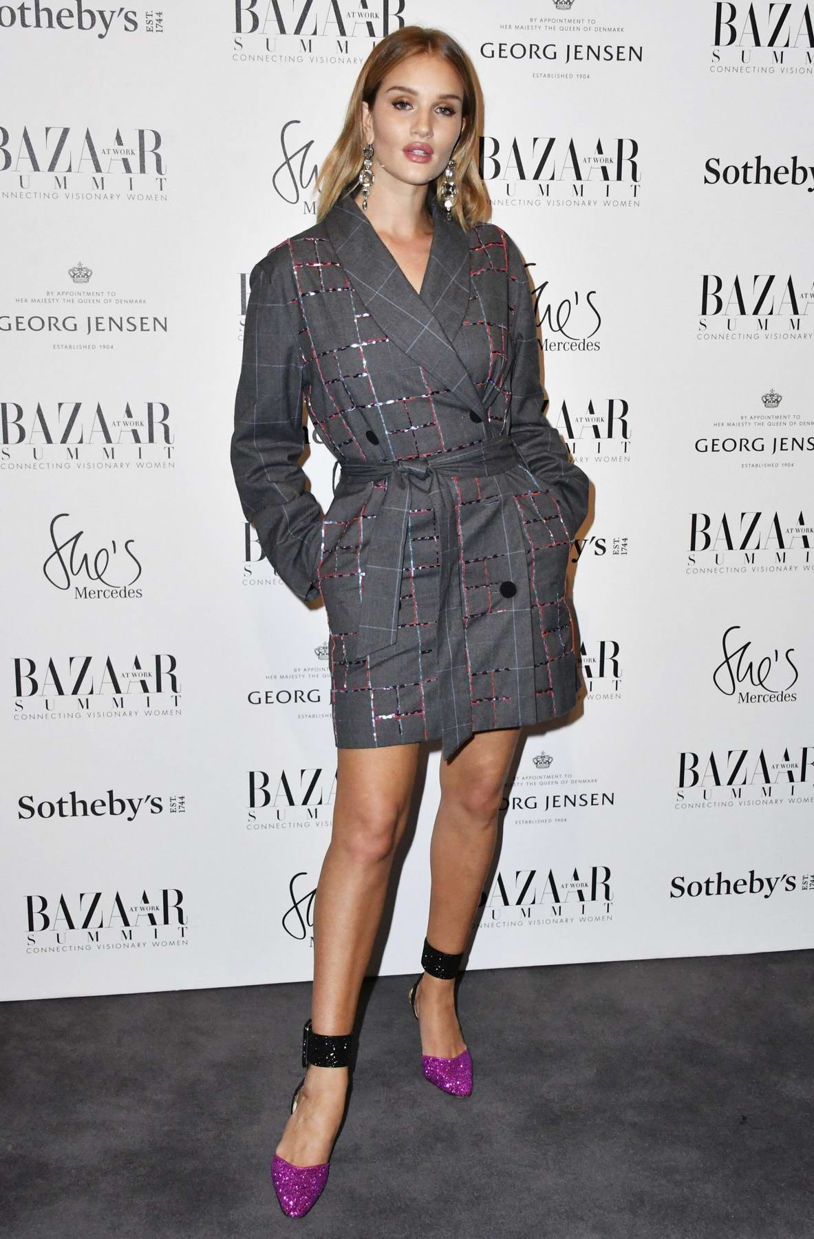 Rosie Huntington-Whiteley attends Bazaar at Work VIP cocktail party in London