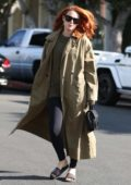 Rumer Willis wears a trench coat on a trip to Moon Juice in West Hollywood, Los Angeles