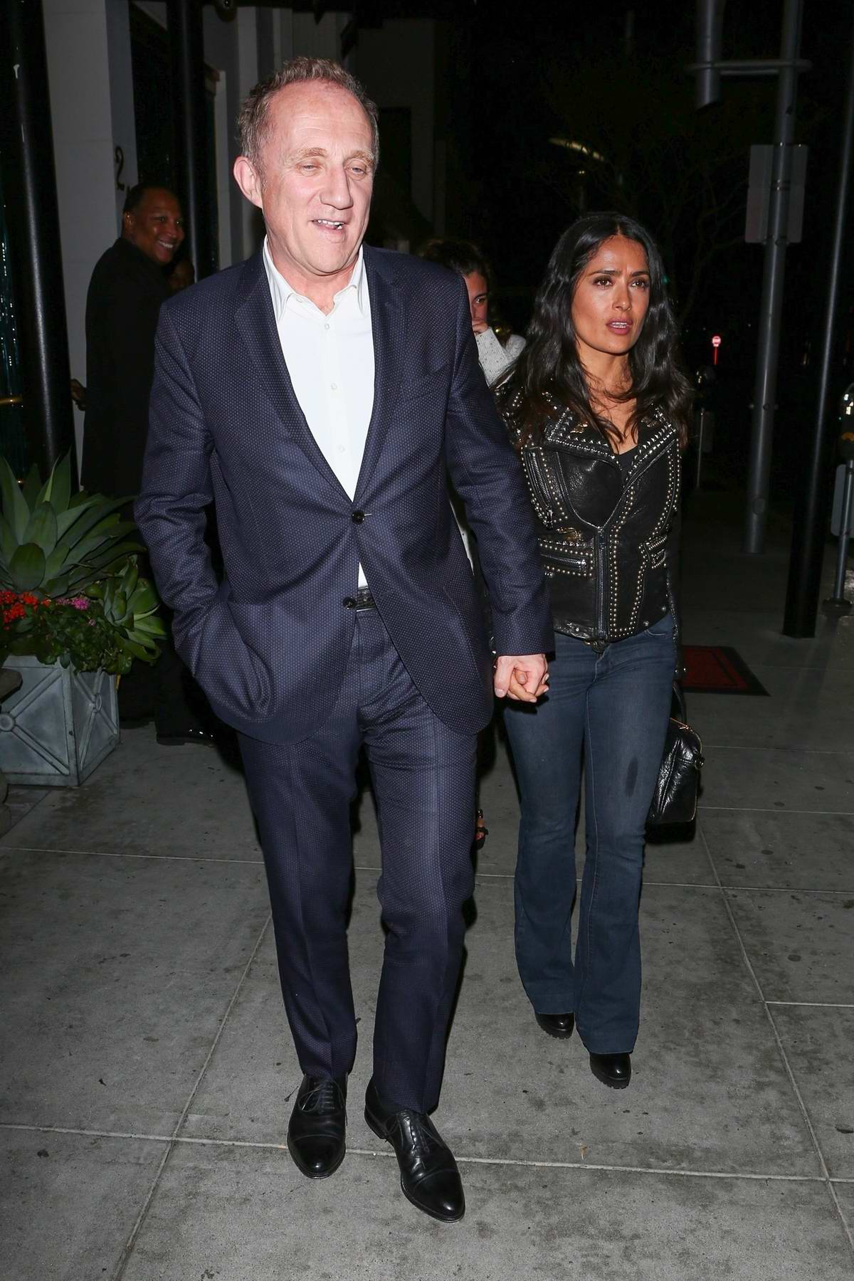 Salma Hayek and François-Henri at Mastro's in the 90210, Beverly Hills, Los Angeles