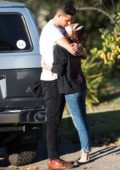 Sarah Hyland and Wells Adams share a kiss after a lunch date at Joan's on Third in Los Angeles