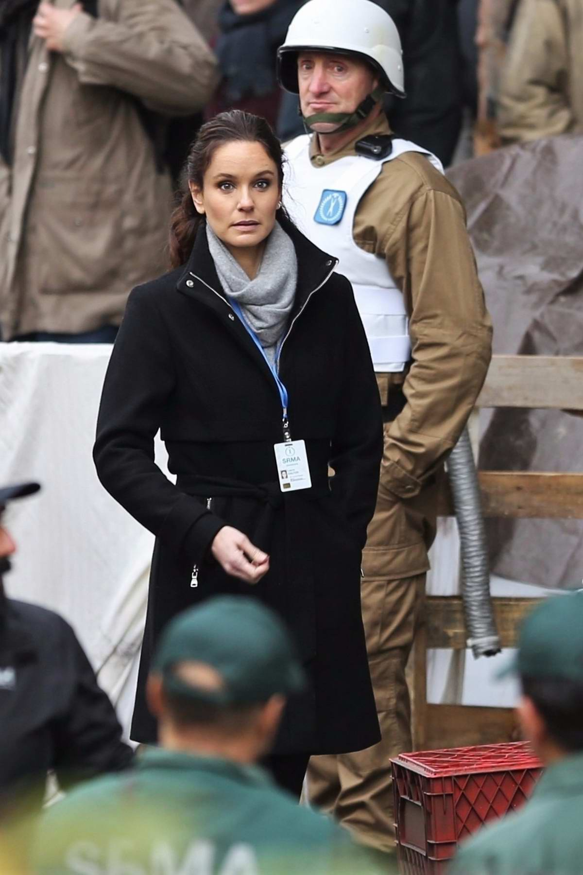Sarah Wayne Callies on set of TV series 'Colony' filming season 2 in Vancouver, Canada