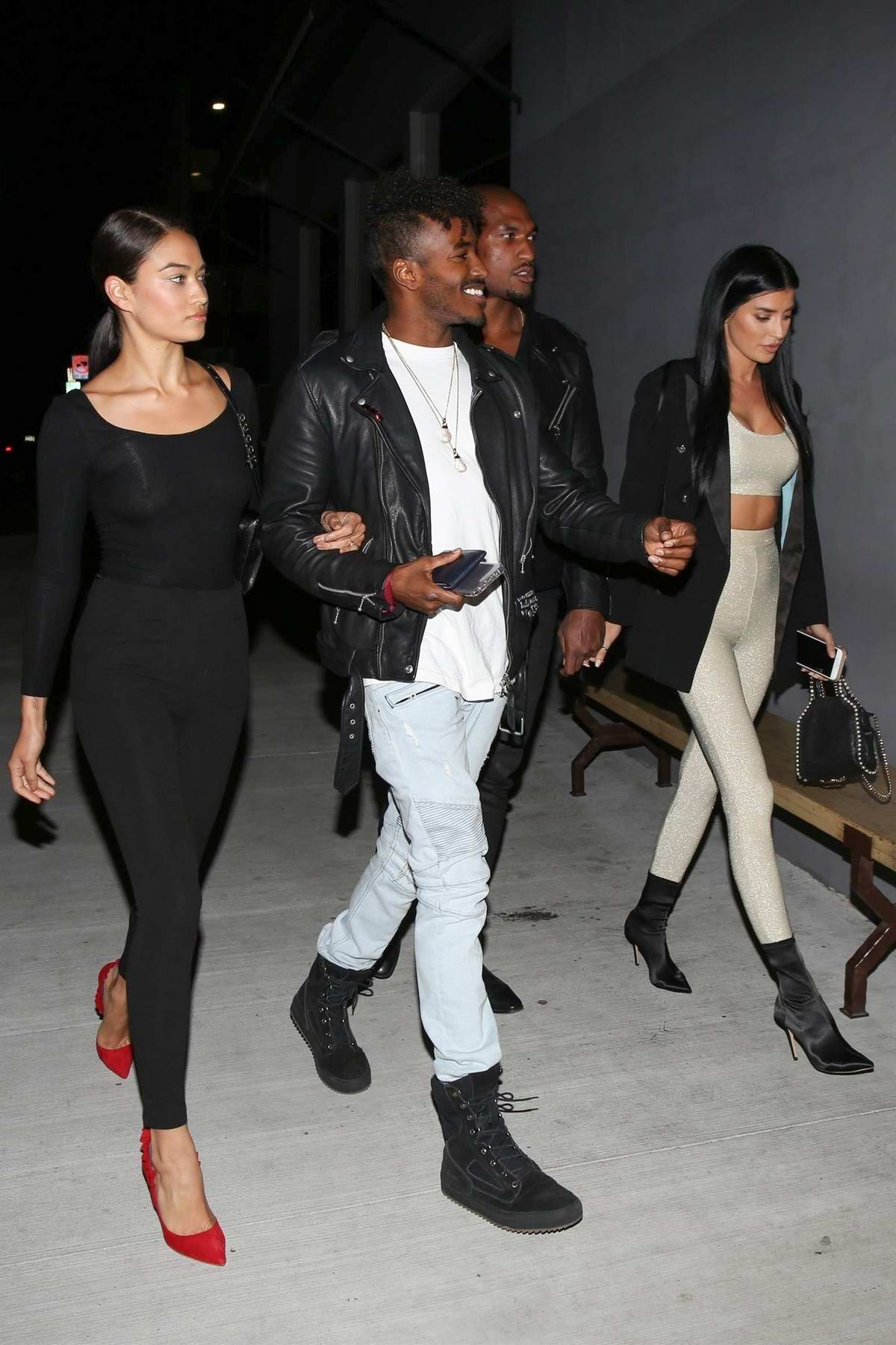 Shanina Shaik and Nicole Williams spotted out on a double date in Los Angeles