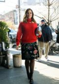 Sophia Bush spotted out in New York wearing a sequined floral pattern skirt and a red jacket