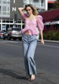 Suki Waterhouse in a pink plaid top and jeans out in West Hollywood, Los Angeles