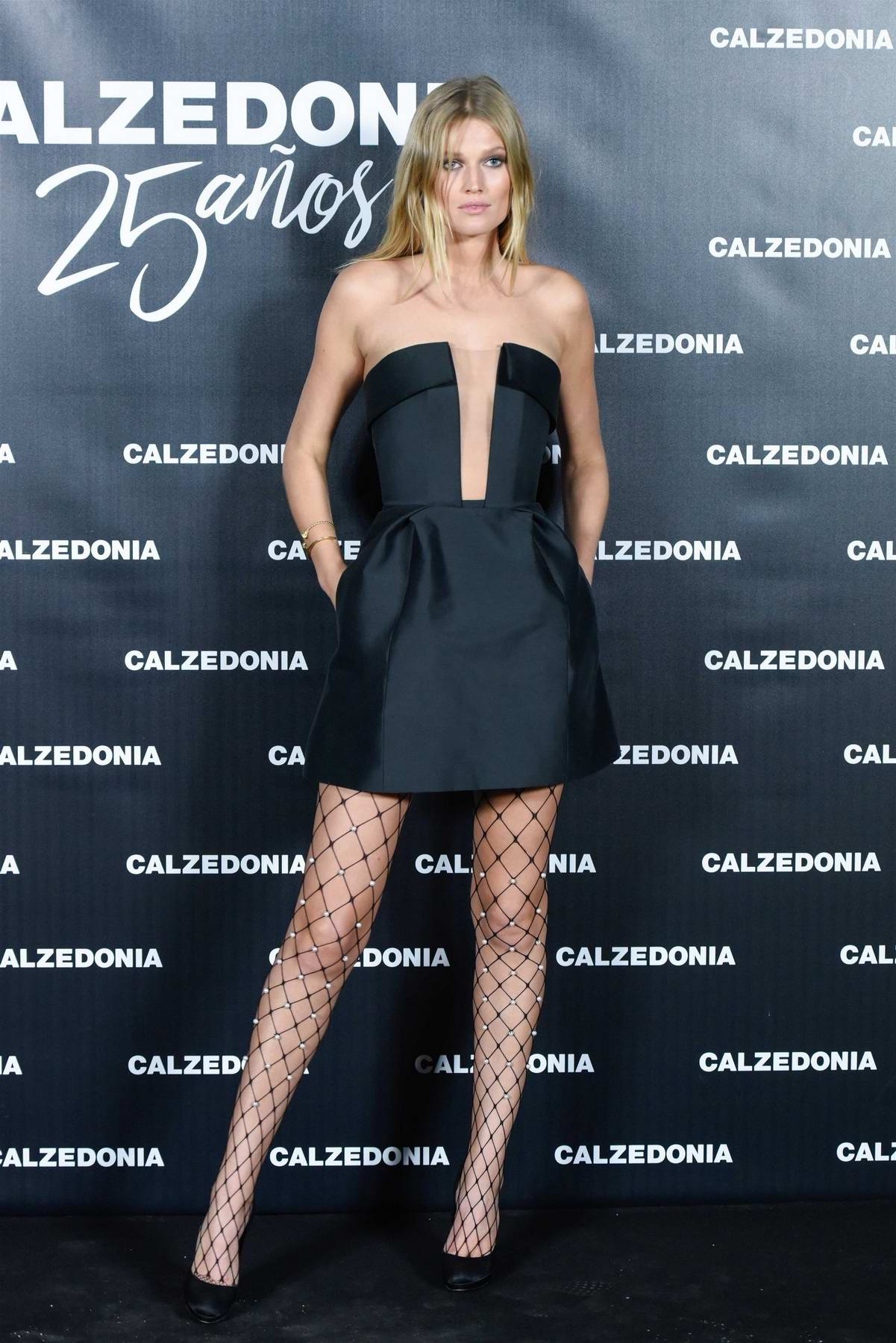 Toni Garrn attend the 25th Calzedonia anniversary party at the Botanic Garden in Madrid, Spain
