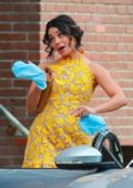 Vanessa Hudgens in a yellow short dress filming scenes for 'Dog Days' in Los Angeles
